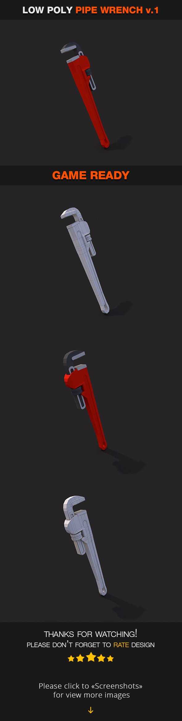 Low Poly Pipe Wrench v.1 - 3DOcean Item for Sale