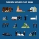 Funeral Services Flat Icon Set