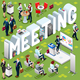 Isometric People Meeting 3D Icon Set Vector Illustration
