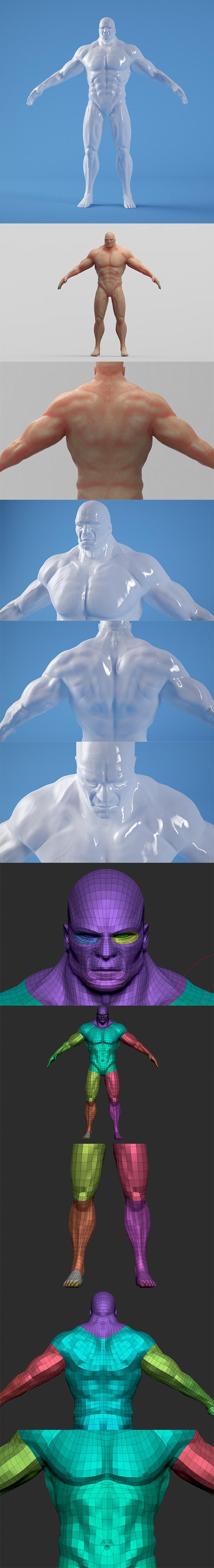 3docean Muscled Man - Base Mesh Body Man 19478411