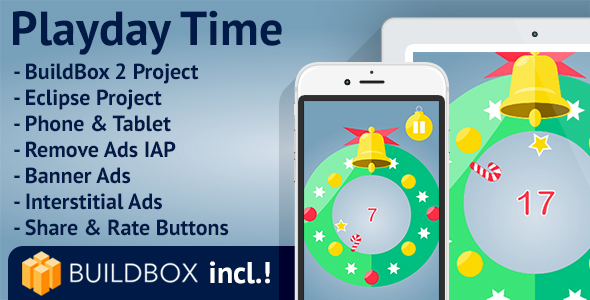 CodeCanyon Playday Time Android BuildBox Included Easy Reskin AdMob RevMob Remove Ads 19478636