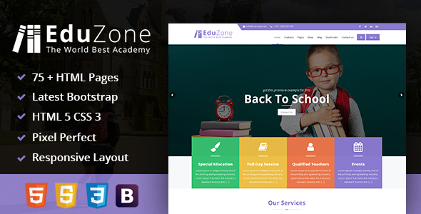Download EduZone : An Education, Learning Cources & Institute/College Mobile Responsive Html Template