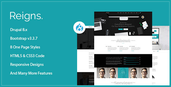 Reigns - Professional One Page Drupal 8 Theme