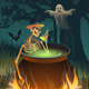 Halloween Party with a Bonfire, a Skeleton, a Ghost and a Bat