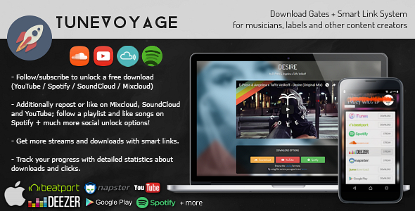 TuneVoyage - Follow to Download (SoundCloud/Spotify/YouTube/Mixcloud) & Smart Link System