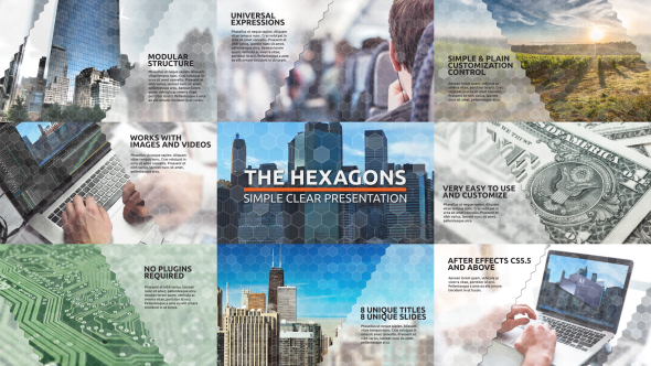 VideoHive Simple Clear Corporate Presentation with Modular Structure The Hexagons 19482676