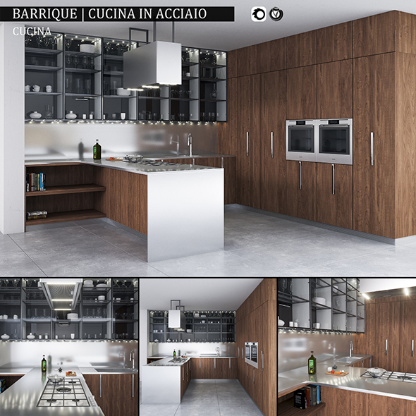Kitchen Barrique Cucina in acciaio - 3DOcean Item for Sale