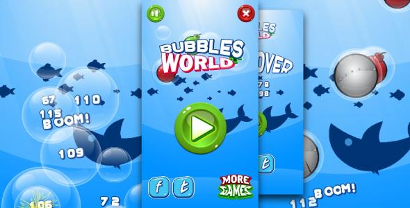 Download Bubbles world - HTML5 fun game + Mobile control + AdMob