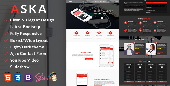 Image of ASKA - Bootstrap Mobile App HTML Template