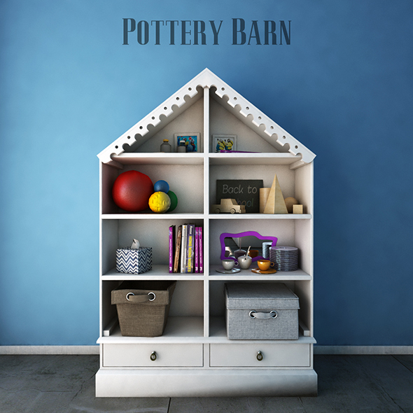 3DOcean Pottery Barn Kids Bookcases 19484635