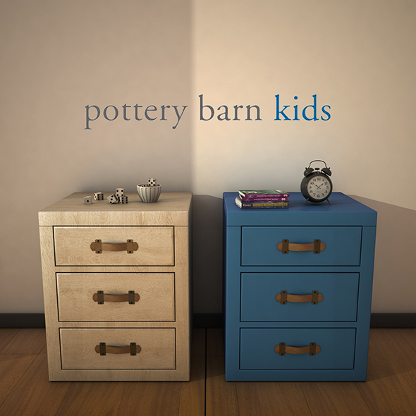 PotteryBarnKids-TuckerNightstand - 3DOcean Item for Sale