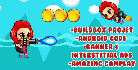 The Red Girl -Gun Adventure: android game Template with admob +Buildbox & eclipse projet