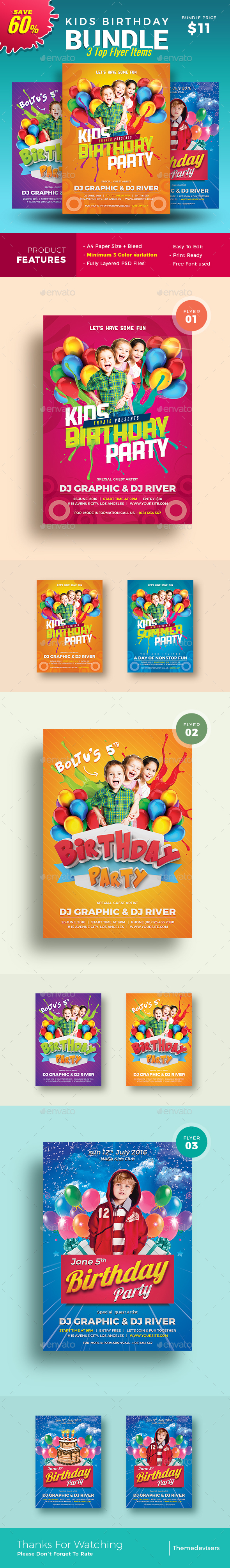 Graphicriver Kids Birthday Party Invitation 19486627