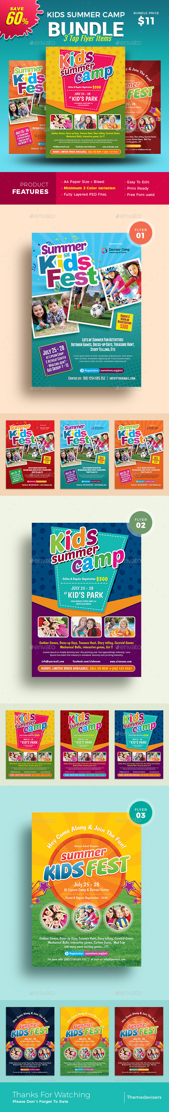 Graphicriver Kids Summer Camp Flyer 19486688