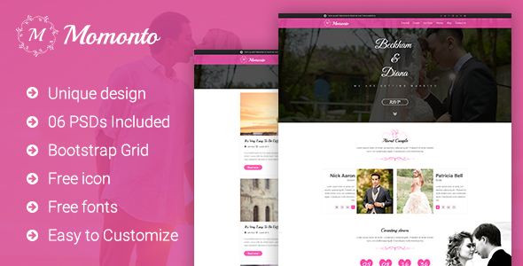 Momonto - Wedding PSD Template