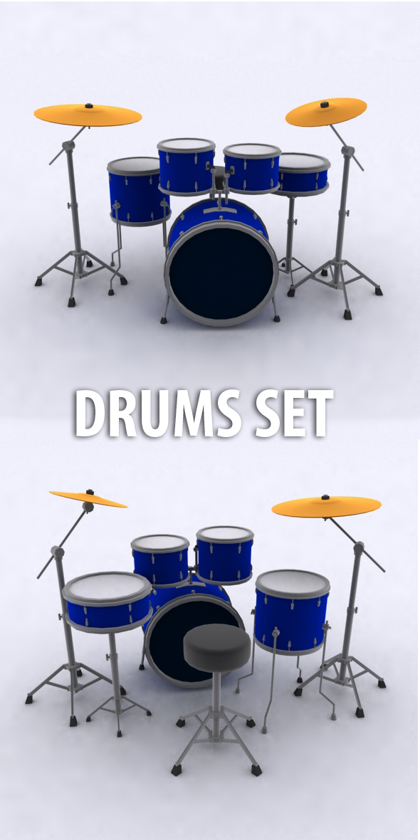 Low Poly Drums Set - 3DOcean Item for Sale