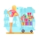 Shop Cart Shopping Woman Purchase Gift Flat Design
