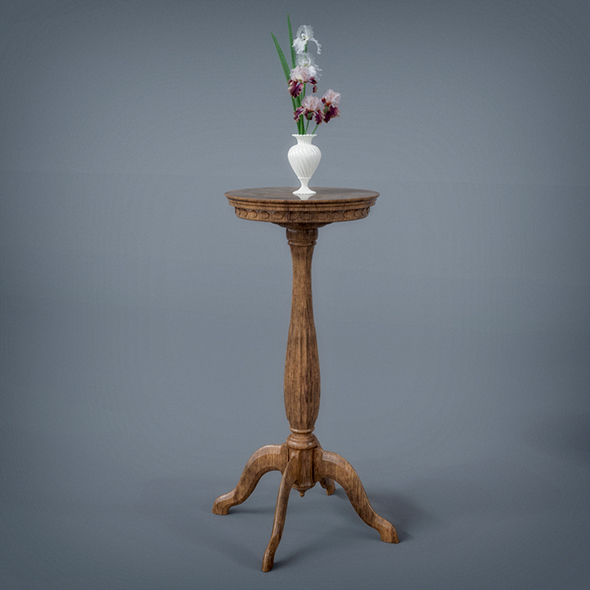 Wooden Table with Flowe Pot - 3DOcean Item for Sale