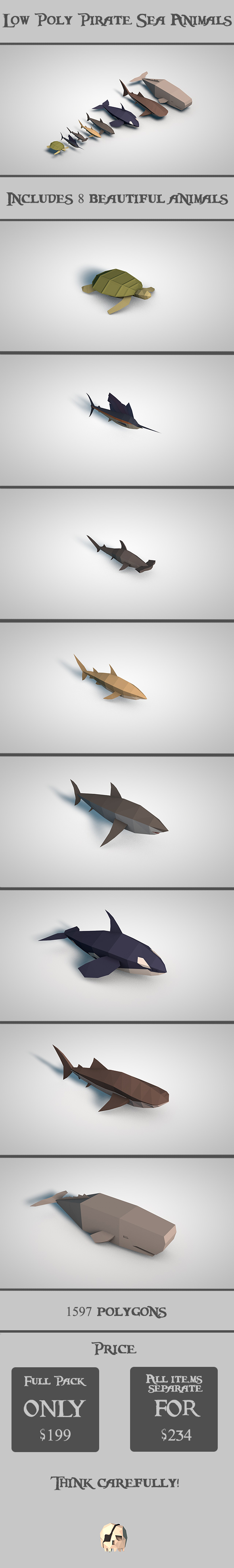 3DOcean Low Poly Pirate Sea Animals 19490589