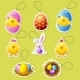 Pack Cartoon Icon Stickers for Easter