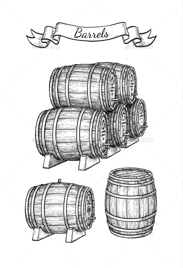 Barrels Set Isolated on White