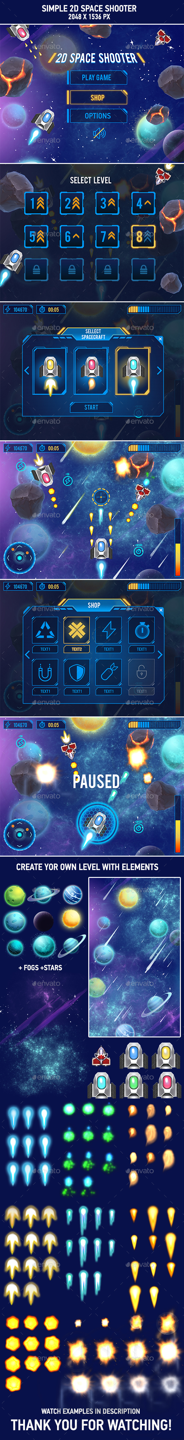 Graphicriver 2D Space Shooter Game Asset 19492478