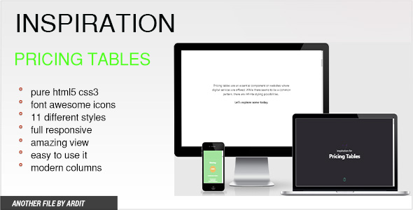 Inspiration Pricing Tables (HTML5)