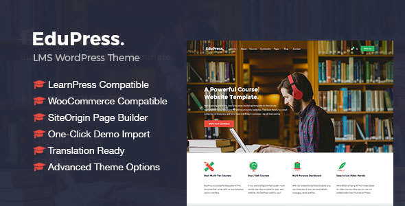 Фото Премиум шаблон Wordpress  EduPress | Responsive LMS, University Education WordPress Theme — preview.  large preview