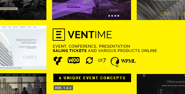 Фото Wordpress Template  Eventime - Conference, Event, Fest, Ticket Store Theme — preview.  large preview