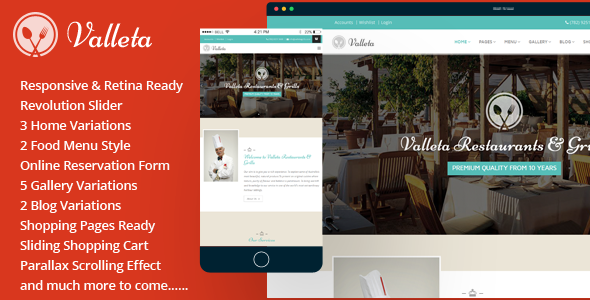 Valleta-Bootstrap Food & Restaurants HTML Template