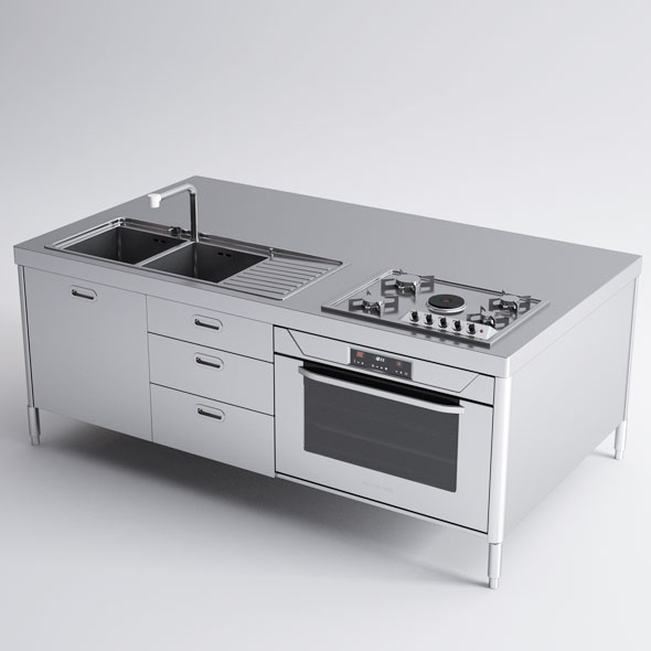 Alpes Inox Kitchen Island - 3DOcean Item for Sale