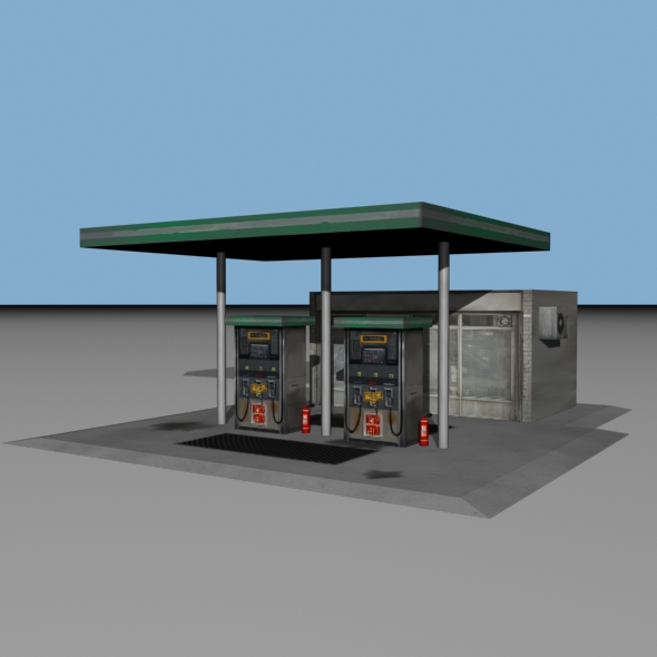 Old Style Gas Station (Low Poly) - 3DOcean Item for Sale