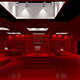 3D red Exhibition Stand vray render