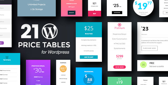 Codecanyon Wordpress Price Tables Plugin with Layout Builder 19497843
