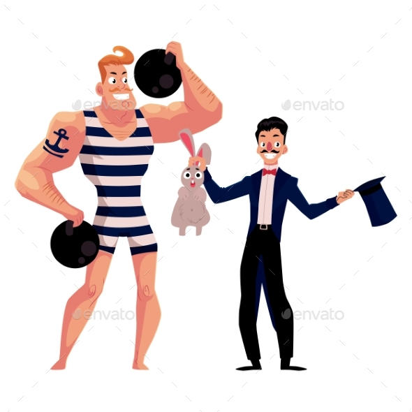 Graphicriver Circus Performers - Strongman and Magician 19498167