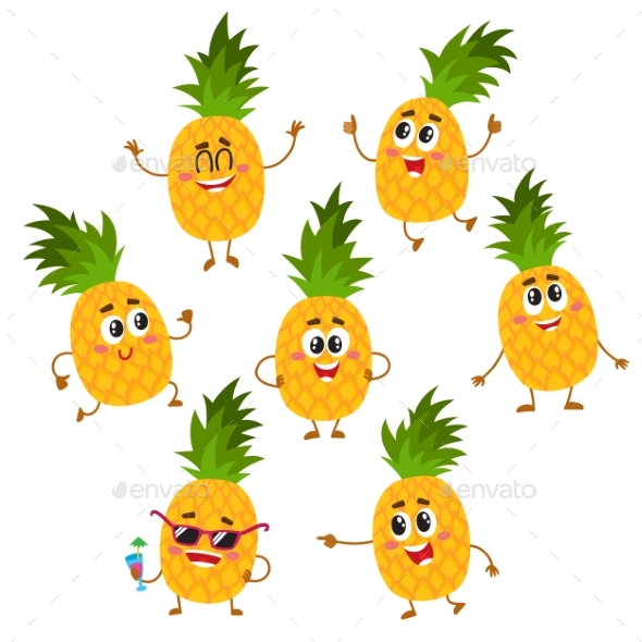Graphicriver Set of Pineapple Characters 19498284