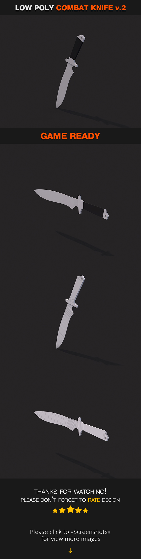 3DOcean Low Poly Combat Knife v.2 19498393