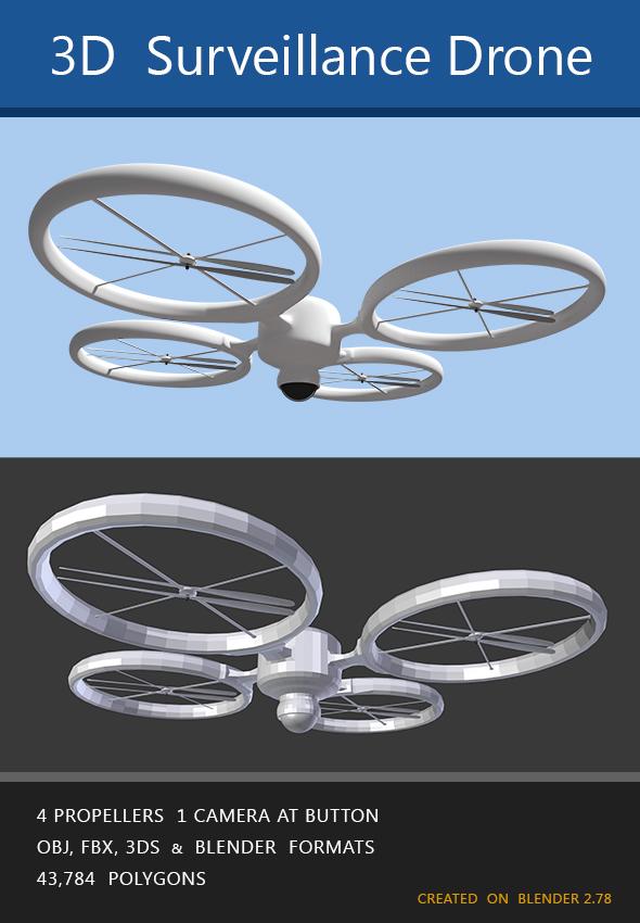 Modern surveillance drone - 3DOcean Item for Sale