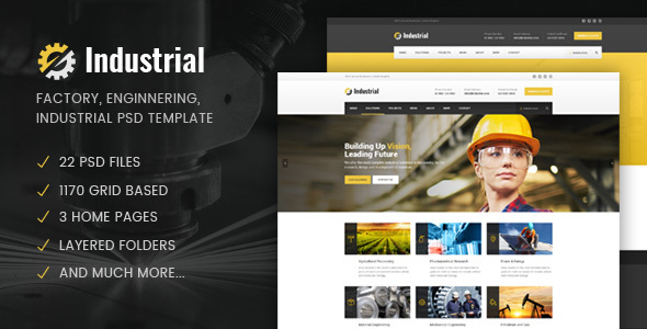 Industrial - Factory / Industry / Engineering PSD Template