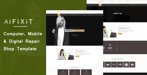aiFiXiT – Telephone, Laptop and Digital Repair Shop Web site Template (Laptop)