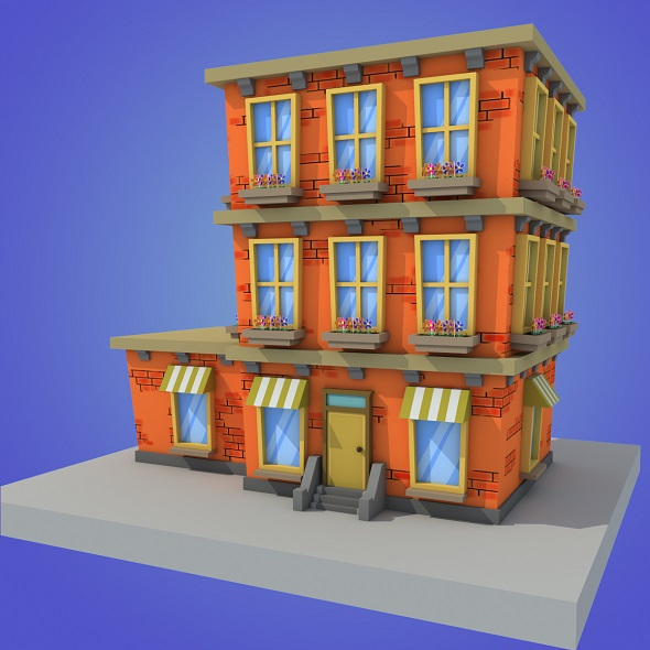cartoon building low poly - 3DOcean Item for Sale