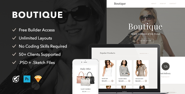 Boutique - Responsive Email + Themebuilder Access