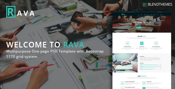 Rava - Creative One Page Multipurpose PSD Template