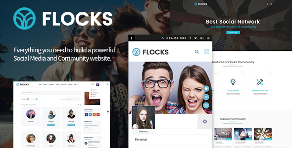 Download Flocks - Business, Social Networking, and Community WordPress Theme