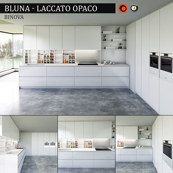 Kitchen Bluna Laccato Opaco - 3DOcean Item for Sale