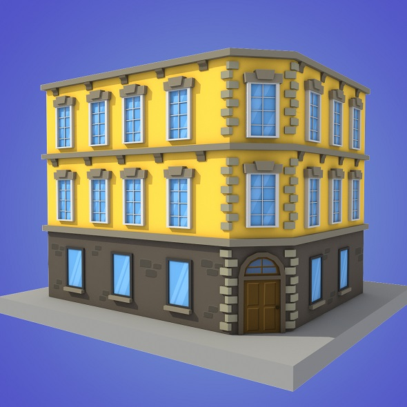 cartoon building 2 low poly - 3DOcean Item for Sale