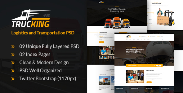 Trucking – Logistics and Transportation PSD Template (Company)