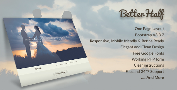 Betterhalf - A Wedding Agency Onepage Bootstrap Template