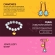 Jewelry Online Shop Web Banners Vector Flat