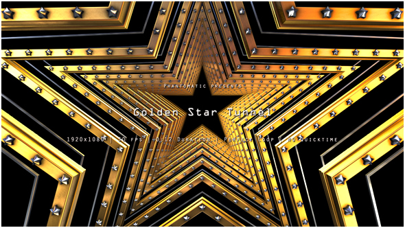 VideoHive Golden Star Tunnel 2 19484363